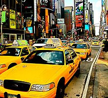 Times Square Taxi - NYC by Blake Johnson