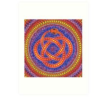 Red Ouroboros Celtic Snake Art Print