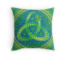 Green Ouroboros Celtic Snake Throw Pillow