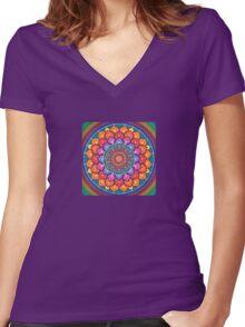Lotus Rainbow Mandala T-shirt femme moulant col V