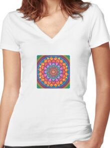 Lotus Rainbow Mandala Women's Fitted V-Neck T-Shirt