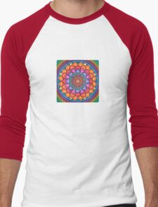 Lotus Rainbow Mandala Men's Baseball ¾ T-Shirt