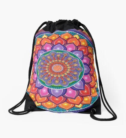 Lotus Rainbow Mandala Drawstring Bag