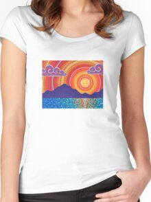 Elegant Sunset over Mountains Women's Fitted Scoop T-Shirt