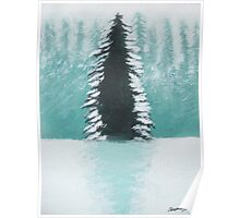 Christmas Tree in Forest Poster