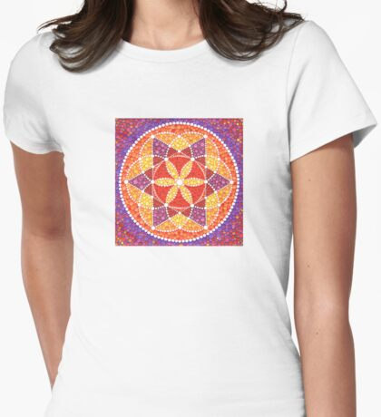 Sacred Geometry Star Flower Womens Fitted T-Shirt