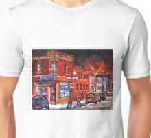 DEPANNEUR NIGHT SCENE STREET HOCKEY GAME MONTREAL WINTER SCENE Unisex T-Shirt