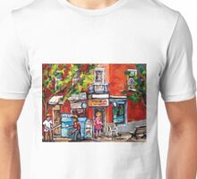 BOYS PLAY BASEBALL IN THE CITY MONTREAL SUMMER SCENE NEAR THE DEPANNEUR Unisex T-Shirt