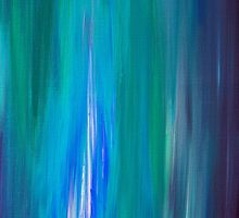 IRRADIATED BLUE Colorful Fine Art Indigo Teal Turquoise Modern Abstract Acrylic Painting by EbiEmporium