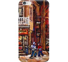 DEPANNEUR FAMILIALE VILLE EMARD MONTREAL WITH BOYS PLAYING HOCKEY AT NIGHT iPhone Case/Skin