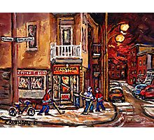 DEPANNEUR FAMILIALE VILLE EMARD MONTREAL WITH BOYS PLAYING HOCKEY AT NIGHT Photographic Print
