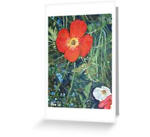 Garden with Bright Red and White Poppies Greeting Card