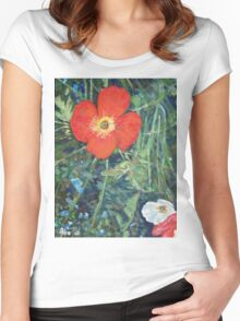 Garden with Bright Red and White Poppies Women's Fitted Scoop T-Shirt