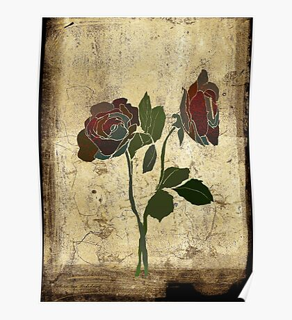 2 roses - valentine day Poster