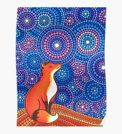 Star Gazing Fox Poster
