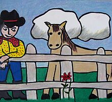 Billy Bob the Cowboy and his Horse, Sandy by emjay4010