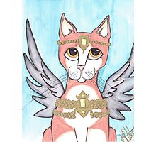 Chipper, Big Eyes Angel Cat Photographic Print