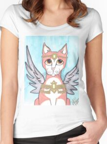 Chipper, Big Eyes Angel Cat Women's Fitted Scoop T-Shirt
