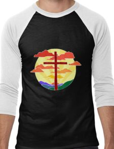 Christian Cross Sunrise Men's Baseball ¾ T-Shirt