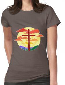 Christian Cross Sunrise Womens Fitted T-Shirt