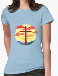 Christian Cross Sunrise Womens Fitted T-Shirt