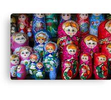 Colorful Russian Nesting Dolls Matreshka Canvas Print