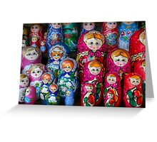 Colorful Russian Nesting Dolls Matreshka Greeting Card