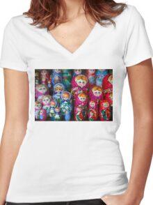 Colorful Russian Nesting Dolls Matreshka Women's Fitted V-Neck T-Shirt