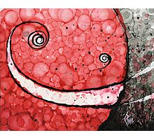 Red Grinning Smiley Face Emoji Photographic Print
