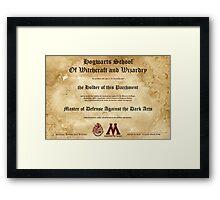 Hogwarts Diploma Poster - Defense Against the Dark Arts OWL Framed Print