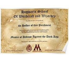 Hogwarts Diploma Poster - Defense Against the Dark Arts OWL Poster