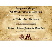 Hogwarts Diploma Poster - Defense Against the Dark Arts OWL Photographic Print
