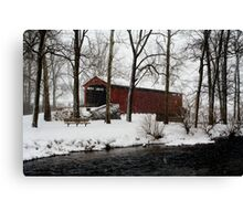 Snowstorm at Poole Forge Covered Bridge Canvas Print