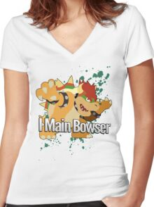 I Main Bowser - Super Smash Bros. Women's Fitted V-Neck T-Shirt