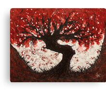 Red Heart Tree Painting Canvas Print