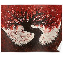 Red Heart Tree Painting Poster