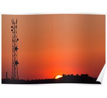 Cell tower at sunset Poster