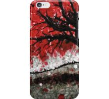 Red Fall Tree Dropping Leaves iPhone Case/Skin
