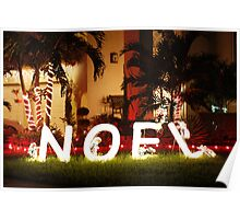 Night christmas decorations in front of Miami houses Poster