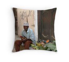 Fruit seller, Stone Town Zanzibar Throw Pillow