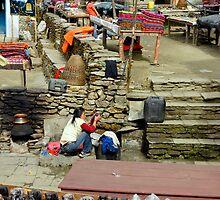 Village Scene by Harry Oldmeadow