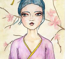 Illustrated White Tea Girl by Jellyscuds