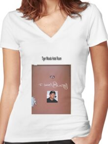 Tiger Woods hotel room Women's Fitted V-Neck T-Shirt
