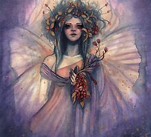 Shimmering Dream - Fairy with Flower Bouquet by tiffanysrealm