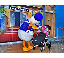Rosalie meets Donald Duck Photographic Print