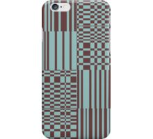 Hip Retro Geometric Abstract Piano Key Bars and Blocks Rectangle Shapes Tiled Pattern Puce and Robin's Egg Blue iPhone Case/Skin