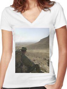 a historic Afghanistan landscape Women's Fitted V-Neck T-Shirt