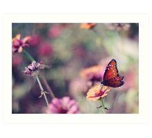 Faded flowers and one last butterfly Art Print