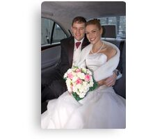 Bride and Groom in Car Canvas Print
