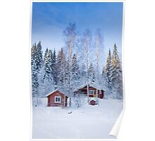 Wooden houses in winter Poster